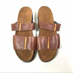 Naot Brown Leather Slip-On Sandals Like New